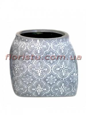 Кашпо керамическое Барокко серо-голубое 9 см