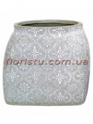 Кашпо керамическое Барокко светло-серого 12 см
