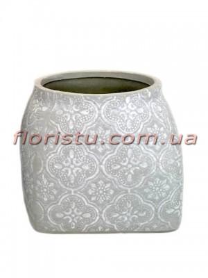 Кашпо керамическое Барокко светло-серое 9 см