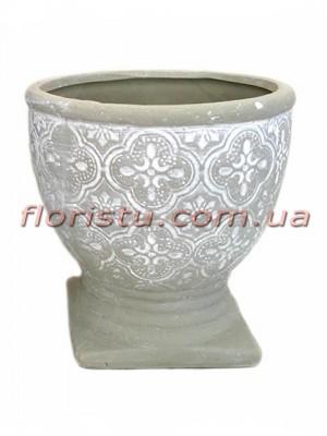 Кубок керамический Барокко светло-серого 10,5 см