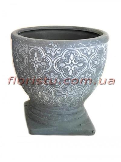 Кубок керамический Барокко серо-голубой 10,5 см
