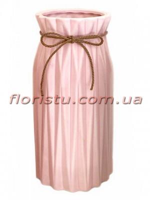 Ваза керамическая со шнурком Origami розовая 25 см