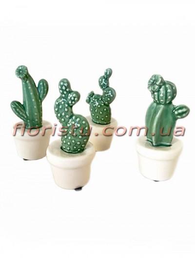 Керамические кактусы в кашпо набор 4 шт. 12 см