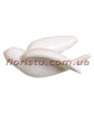 Керамическая птичка на стену белая 10,5 см