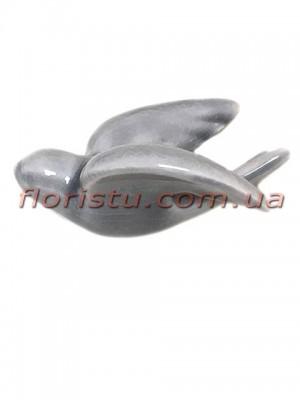 Керамическая птичка на стену серая 10,5 см
