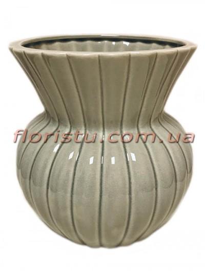 Ваза керамическая Vanilla оливково-серая 22 см