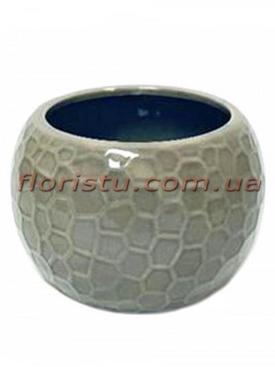 Керамическое кашпо круглое Серое 10 см