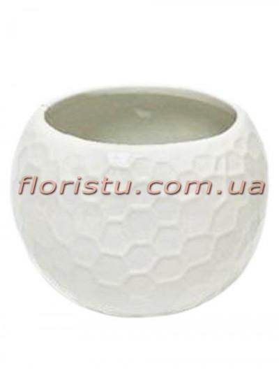 Керамическое кашпо круглое Белое 10 см