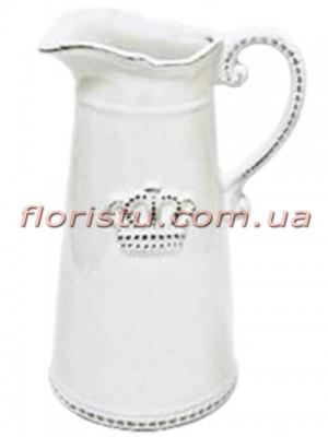 Кувшин керамический винтажный для декора Корона 21 см