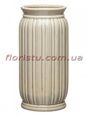 Ваза керамическая Vanilla цилиндр зеленая 31 см