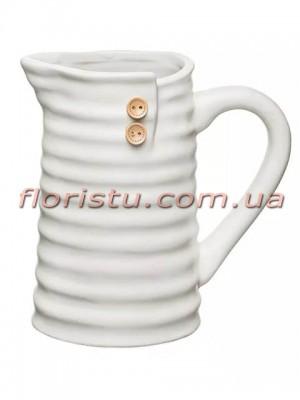 Кувшин керамический для декора с пуговицами Белый 17 см