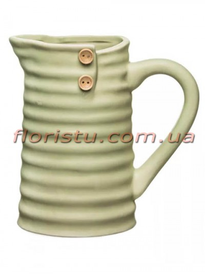 Кувшин керамический для декора с пуговицами Оливковый 17 см