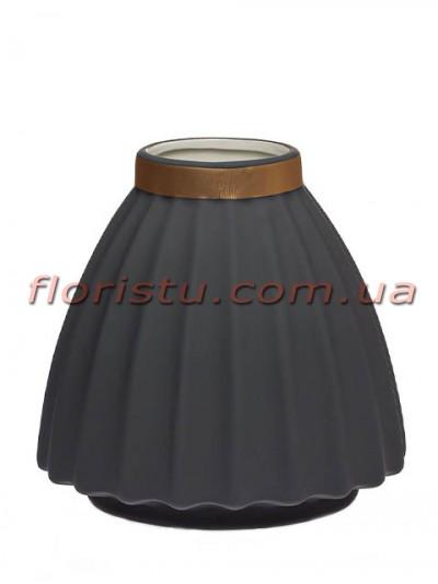 Ваза керамическая матовая Серая 16 см
