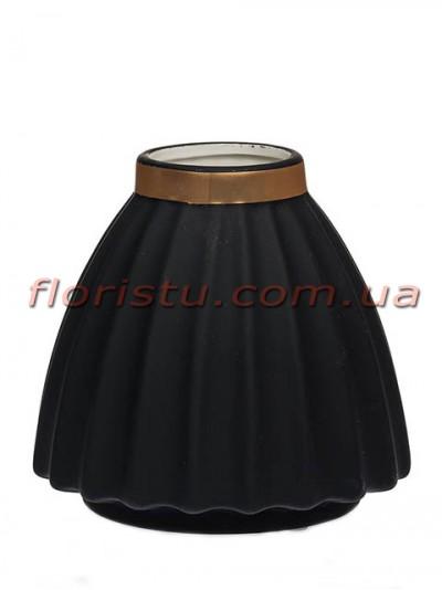 Ваза керамическая матовая Черная 16 см
