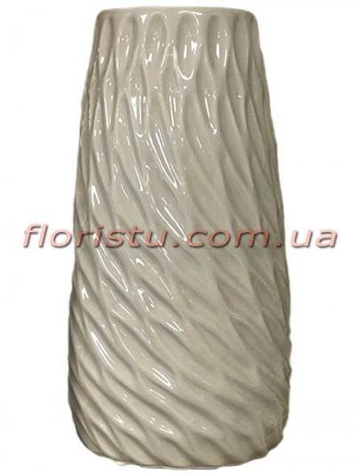Ваза керамическая глянцевая Волна серая 25 см