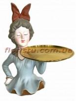 Декоративная фигура из полистоуна Девушка с подносом 30 см