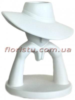 Ваза керамическая Девушка в шляпе белая 27 см