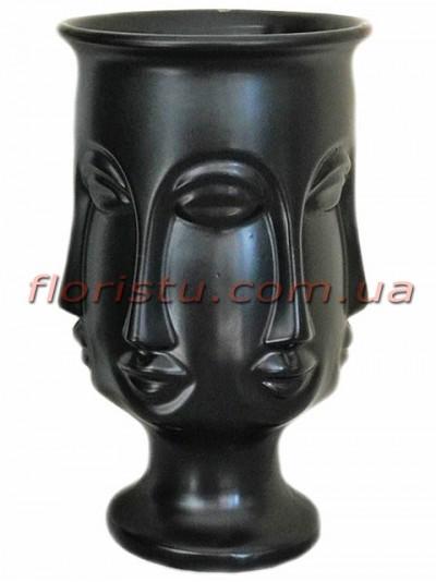 Ваза керамическая Много лиц черная 27 см