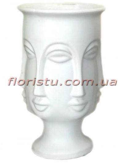 Ваза керамическая Много лиц белая 27 см