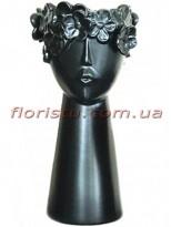 Ваза керамическая Лицо с цветами черная 31 см