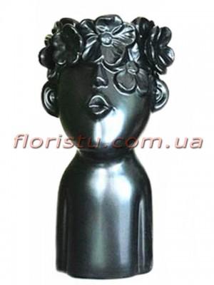 Ваза керамическая Лицо с цветами черная 25 см