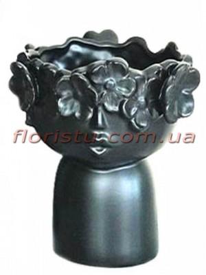 Ваза керамическая Лицо с цветами черная 20 см