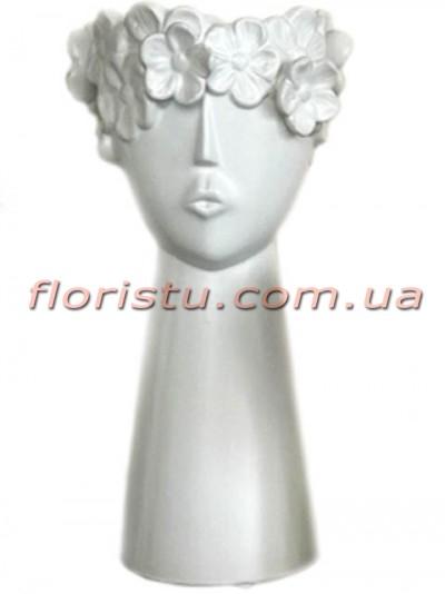 Ваза керамическая Лицо с цветами белая 31 см