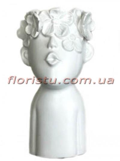 Ваза керамическая Лицо с цветами белая 25 см