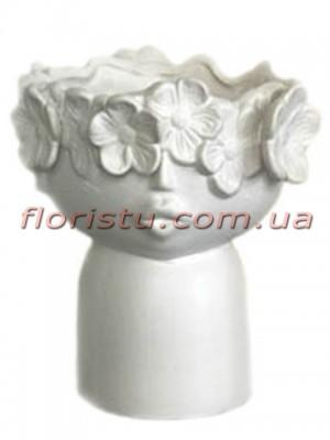 Ваза керамическая Лицо с цветами белая 20 см