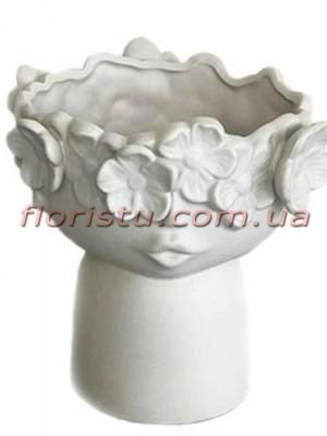 Ваза керамическая Лицо с цветами кремовая 20 см
