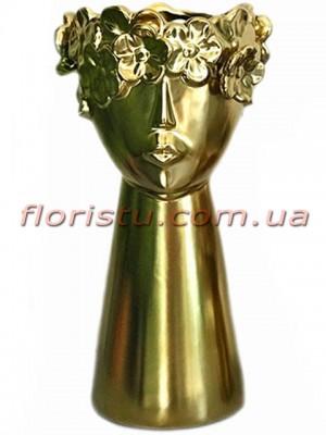 Ваза керамическая Лицо с цветами золотая 31 см