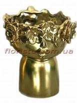 Ваза керамическая Лицо с цветами золотая 20 см
