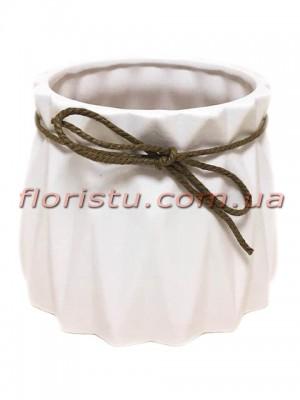 Кашпо керамическое со шнурком Origami белое 11/10 см