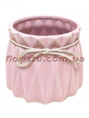 Кашпо керамическое со шнурком Origami розовое 11/10 см
