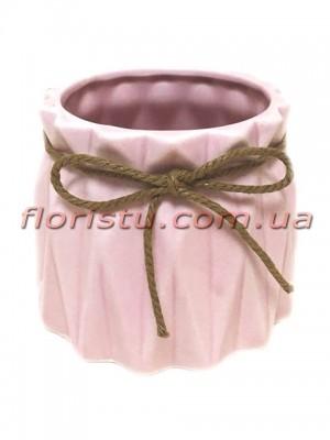 Кашпо керамическое со шнурком Origami розовое 10/8 см