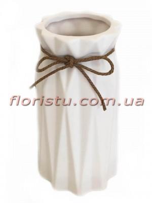 Ваза керамическая со шнурком Origami белая 18 см
