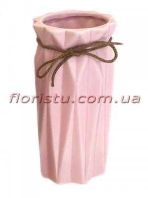 Ваза керамическая со шнурком Origami розовая 18 см