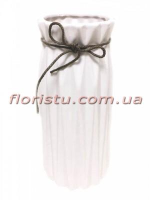 Ваза керамическая со шнурком Origami белая 25 см
