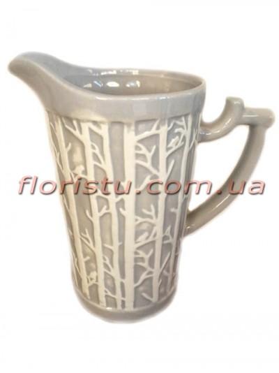 Кувшин керамический для декора Тree серый 22 см