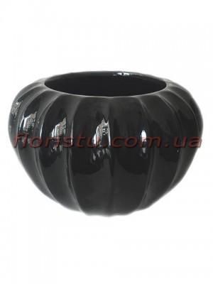 Кашпо керамическое Octagon черное 17 см