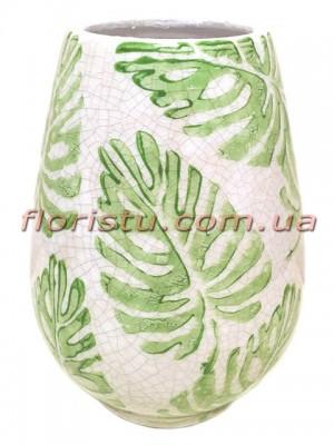 Ваза керамическая овал Монстера 21 см