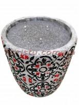Свеча в бетоне Марокко черно-красный орнамент 10/13,5 см