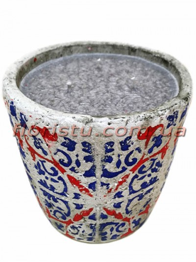 Свеча в бетоне Марокко сине-красный орнамент 10/13,5 см