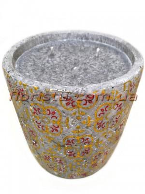 Свеча в бетоне Марокко желто-красный орнамент 10/13,5 см