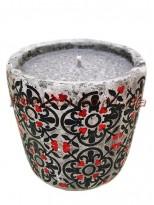 Свеча в бетоне Марокко черно-красный орнамент 8,5/10 см