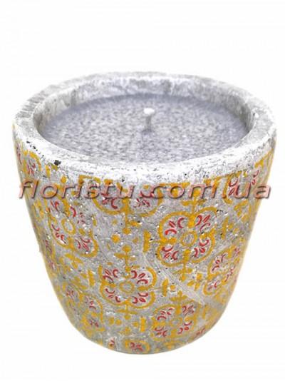 Свеча в бетоне Марокко желто-красный орнамент 8,5/10 см