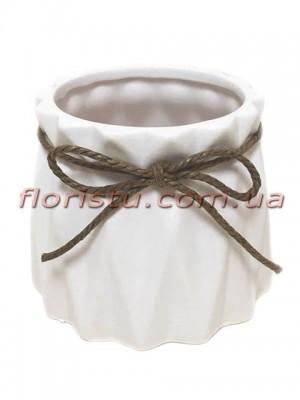Кашпо керамическое со шнурком Origami белое 10/8 см
