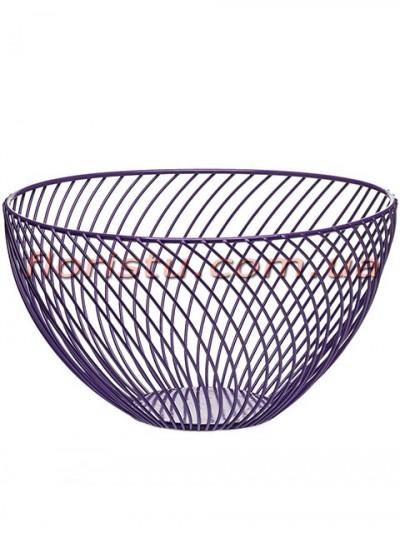 Фруктовница металлическая Диагональ ажурная Фиолетовая 25*14 см