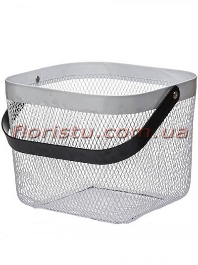 Корзина металлическая квадрат Белая с черной ручкой 24*20 см