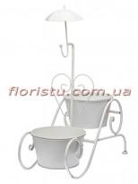 Кашпо для цветов Зонтик металлическое Белое 56 см